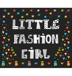 Little fashion girl card Cute graphic for kids vector image vector image