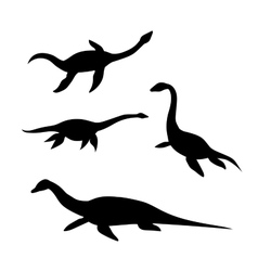 Plesiosaur silhouettes vector image vector image