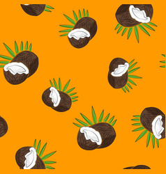 seamless pattern coconut on yellow background vector image vector image