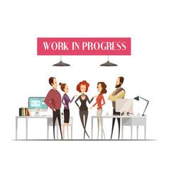 work in progress cartoon style design vector image