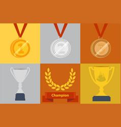awards icon set vector image vector image