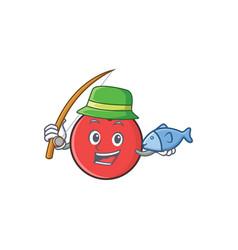fishing bowling ball character cartoon vector image