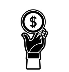 silhouette coin with peso symbol and hand up vector image vector image