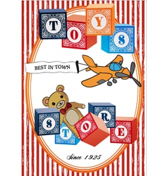 Vintage toys poster vector image vector image