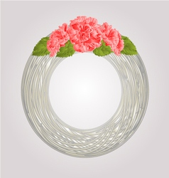 Wreath with pink hibiscus greeting card vector image