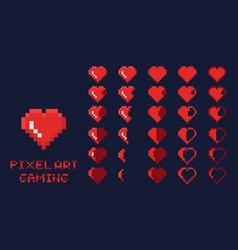 8 bit pixel art gui game design element - heart vector image