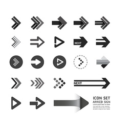 arrow icons design set vector image vector image