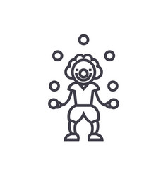 clown with balls line icon sign vector image vector image