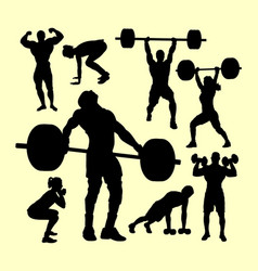 fitness and gymnastic silhouette vector image vector image