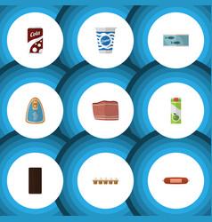 flat icon food set of yogurt packet beverage vector image vector image