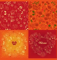 red and orange floral patterns set vector image