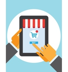 tablet pc buy button touch finger on line store vector image