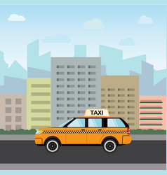yellow taxi car in front of city silhouette and vector image