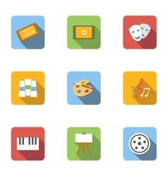 Art icons set flat style vector
