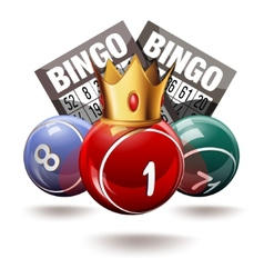 Bingo or lottery balls and cards with crown vector image
