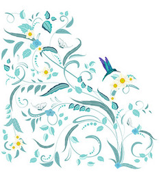 fine nature ornament with flowers and butterflies vector image