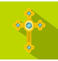 Golden cross with diamonds icon flat style vector