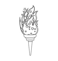 grayscale contour with olympic torch flame vector image vector image
