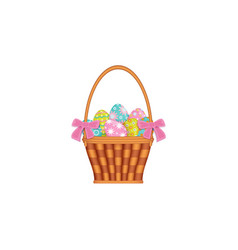 ribbon decorated basket with painted easter eggs vector image vector image