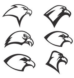set of eagle heads icon isolated on white vector image vector image