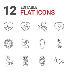 12 life icons vector image