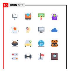 16 universal flat color signs symbols report vector