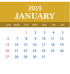 2019 calendar template - january vector image