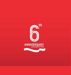 6 anniversary logotype flat design white color vector