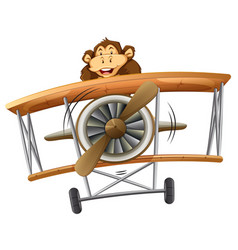 A monkey riding classic airplane vector