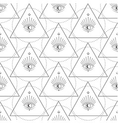 Abstract moon eye with stars seamless pattern vector