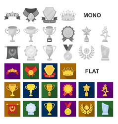 awards and trophies flat icons in set collection vector image