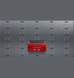 Bank deposit safe boxes wall one red opened locker vector