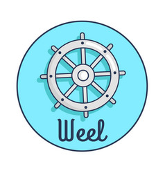 banner with inscription depicting ship s wheel vector image