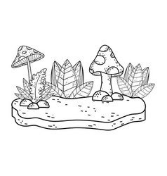 beautiful garden bush and fungus landscape scene vector image