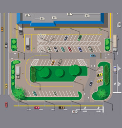 Big shopping center or mall and parking for cars vector