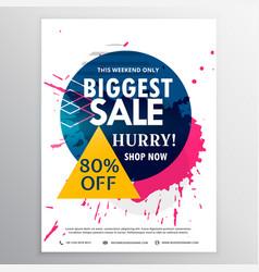 Biggest sale discount voucher with ink splash vector