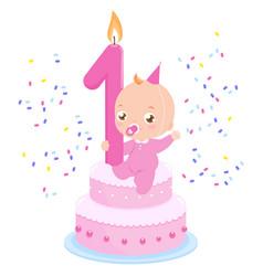 Birthday cake and baby girl vector