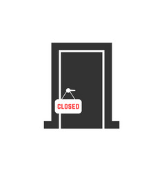 Black closed door icon isolated on white vector