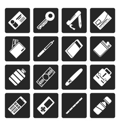 Black Simple Object Icons vector image