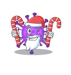 Bovine coronavirus in santa cartoon having candies vector