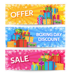 boxing day holiday gift boxes with ribbon xmas vector image