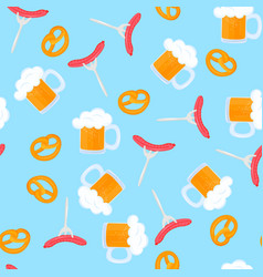 bretzel and mug beer with foam sausage grill vector image