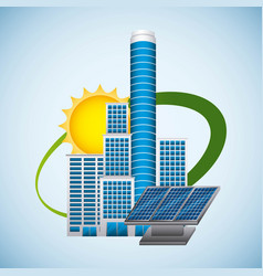 building panel solar environment -energy clean vector image