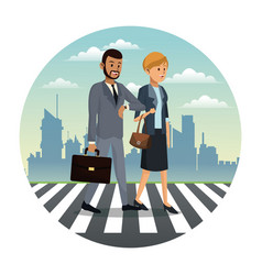 business couple walk street urban background vector image