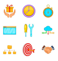 Capital investment icons set cartoon style vector