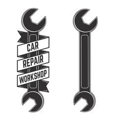 car repair workshop emblem template with car vector image