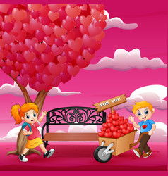 cartoon boy giving to girl a pile of hearts on the vector image