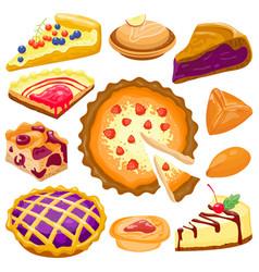 Cartoon cake pie isolated vector