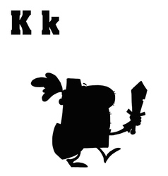 Cartoon knight with letter vector