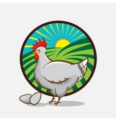Chicken farm emblem vector